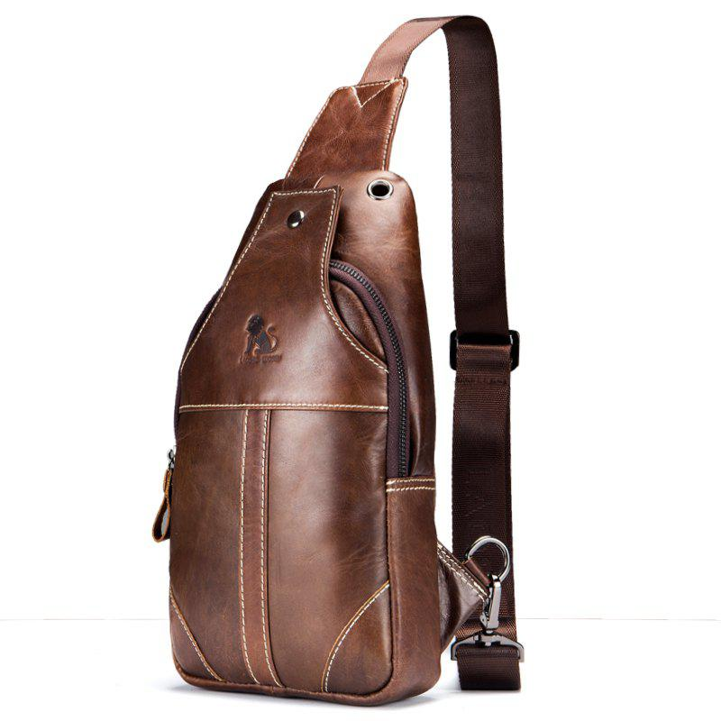 LaoShiZi High Quality Men Genuine Leather Cowhide Casual Sling Chest Back Fashion Cross Body Messenger Shoulder Bag - BROWN