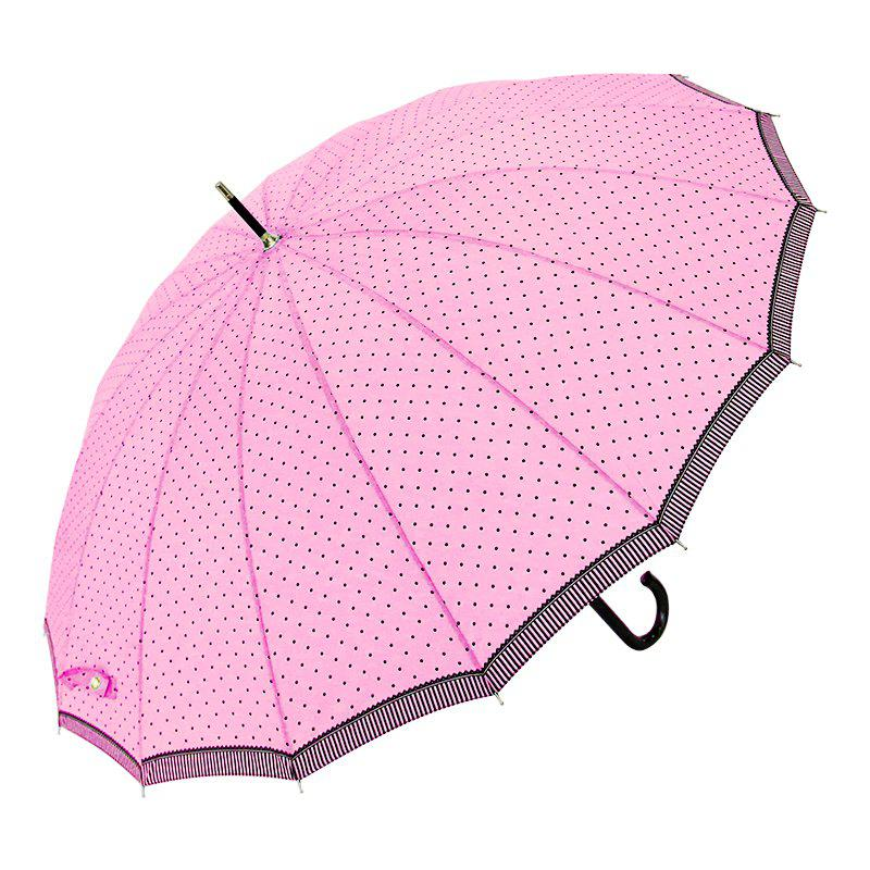 Polka Dot Brolly Super Windproof Quick Dry Walking Umbrella Ladies - PINK