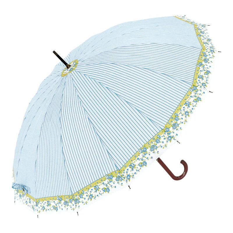 Trendy Floral Stripe Super Windproof Umbrella Wood Travel Brolly Ladies - LIGHT BLUE
