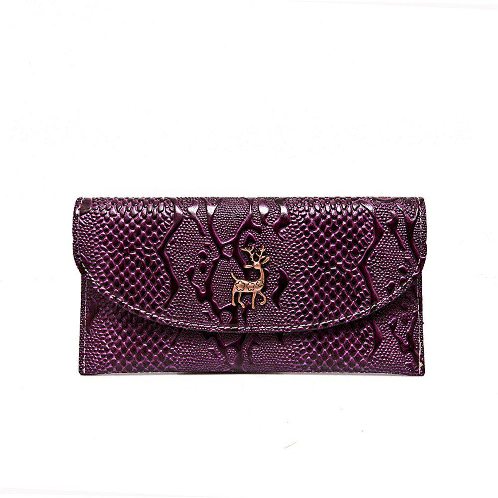 0219 Grain Paint Long Purse - PURPLE