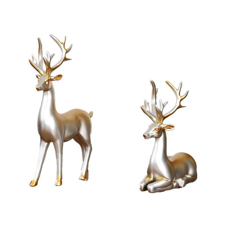 Novel Creative Resin Home Decorative Couples Against Deer - SILVER