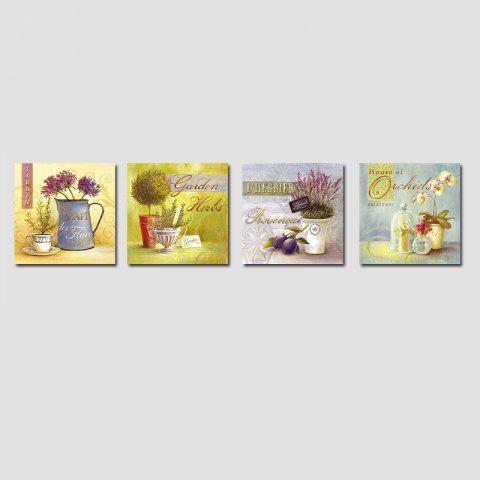 QiaoJiaHuaYuan No Frame Canvas Living Room Sofa Background Four Sets of Landscape Painting Idyllic Landscape Painting - COLORMIX