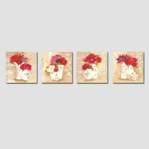QiaoJiaHuaYuan No Frame Canvas Living Room Sofa Background Four Union Picture European Contracted Vase Decoration Hangs - COLORMIX