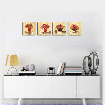 QiaoJiaHuaYuan Frameless Canvas Sitting Room Sofa Potted Flower Adornment 4PCS - COLORMIX 40CMX40CMX4