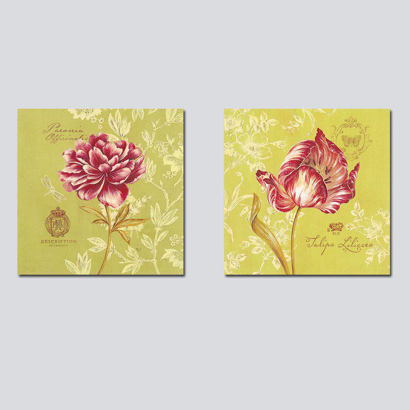 QiaoJiaHuaYuan No Frame Canvas Abstract Flowers Modern Living Room Bedroom Decoration - COLORMIX 50CMX50CMX2
