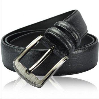 Pin Buckle Leather Men's Leather Belt - BLACK 110CM