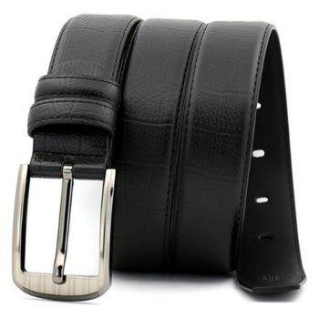 Pin Buckle Leather Men's Leather Belt - BLACK 130CM