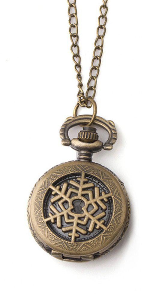 Classic Retro Hollowed Out Snowflake Small Pocket Watch - BRONZE