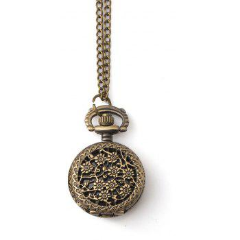 Classic Retro Hollowed Out Snowflake Small Pocket Watch - BRONZED