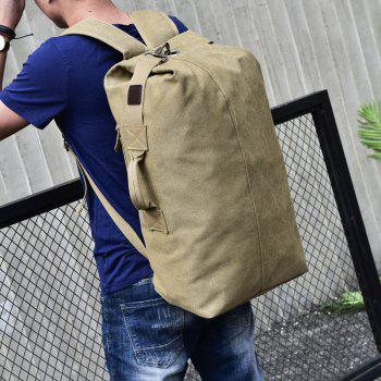 Large Capacity Travel Man Backpack Outdoor Sports Bag Canvas - KHAKI