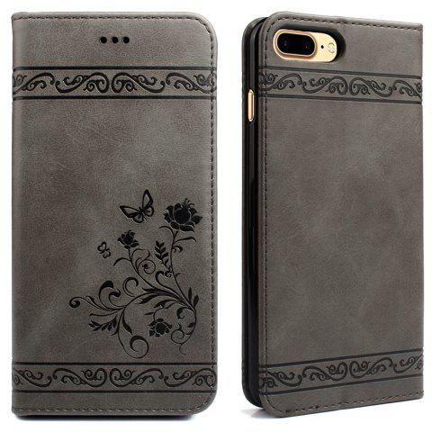 Cover for iPhone 8 Plus/7 Plus Mobile Phone Shell Handset Card Slot Flip Case Leather Wallet Handset - GRAY