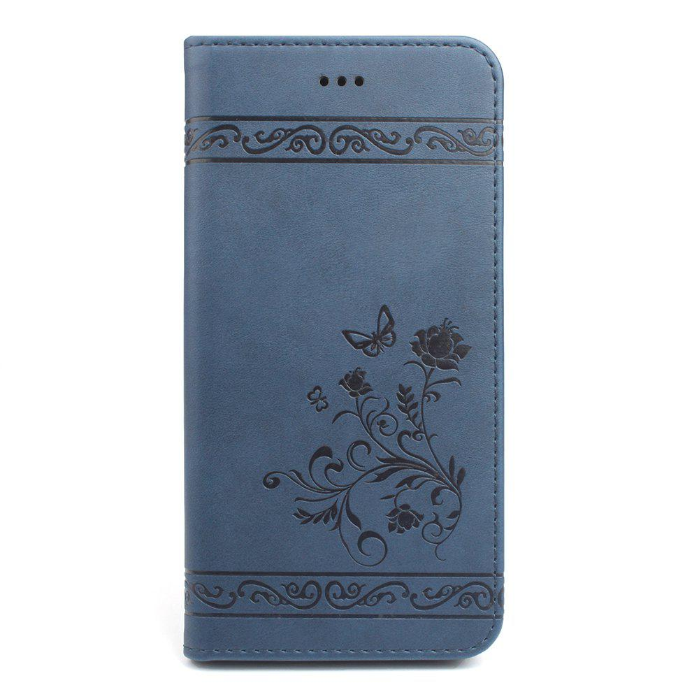 Cover for iPhone 8 Plus/7 Plus Mobile Phone Shell Handset Card Slot Flip Case Leather Wallet Handset - BLUE
