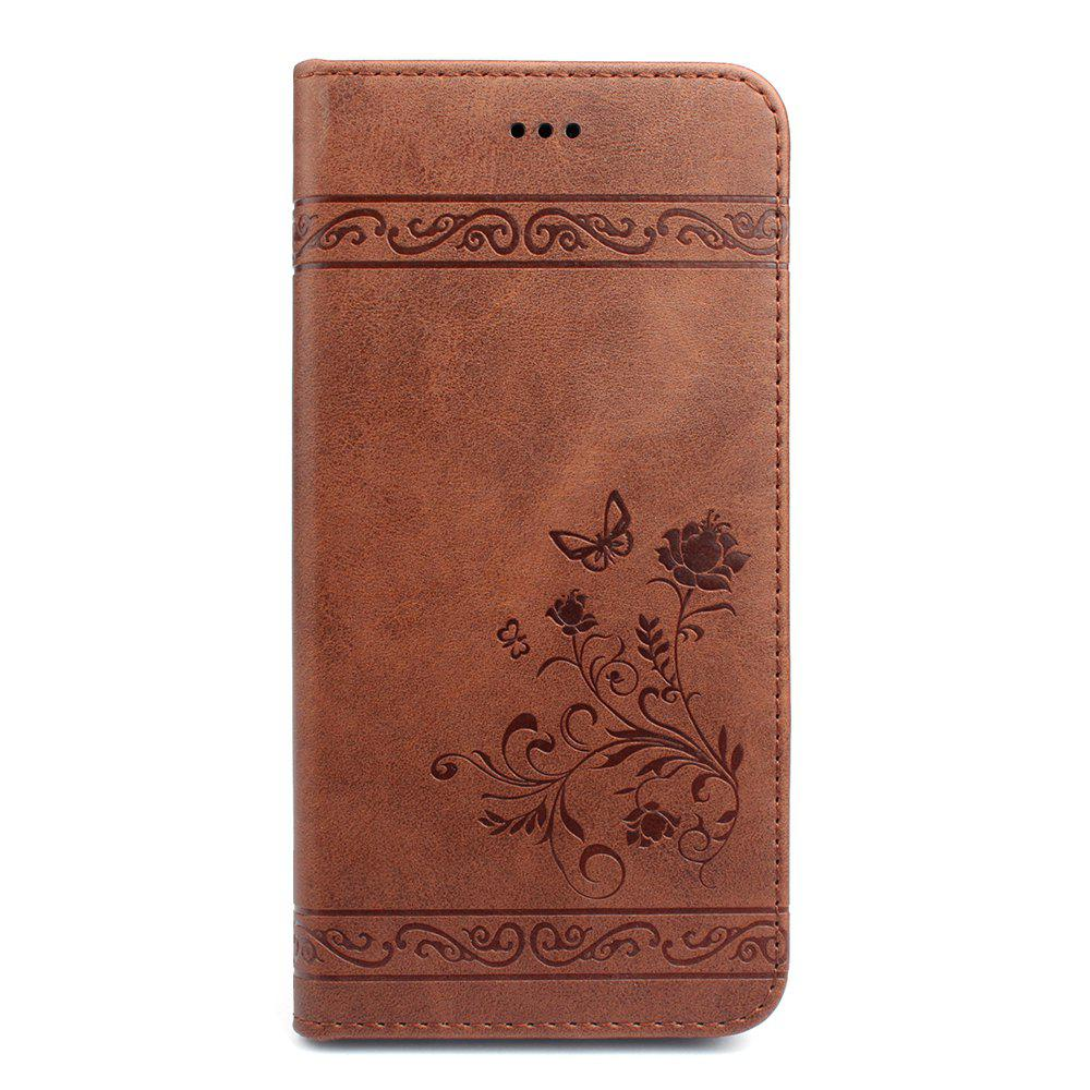 Cover for iPhone 8 Plus/7 Plus Mobile Phone Shell Handset Card Slot Flip Case Leather Wallet Handset - BROWN