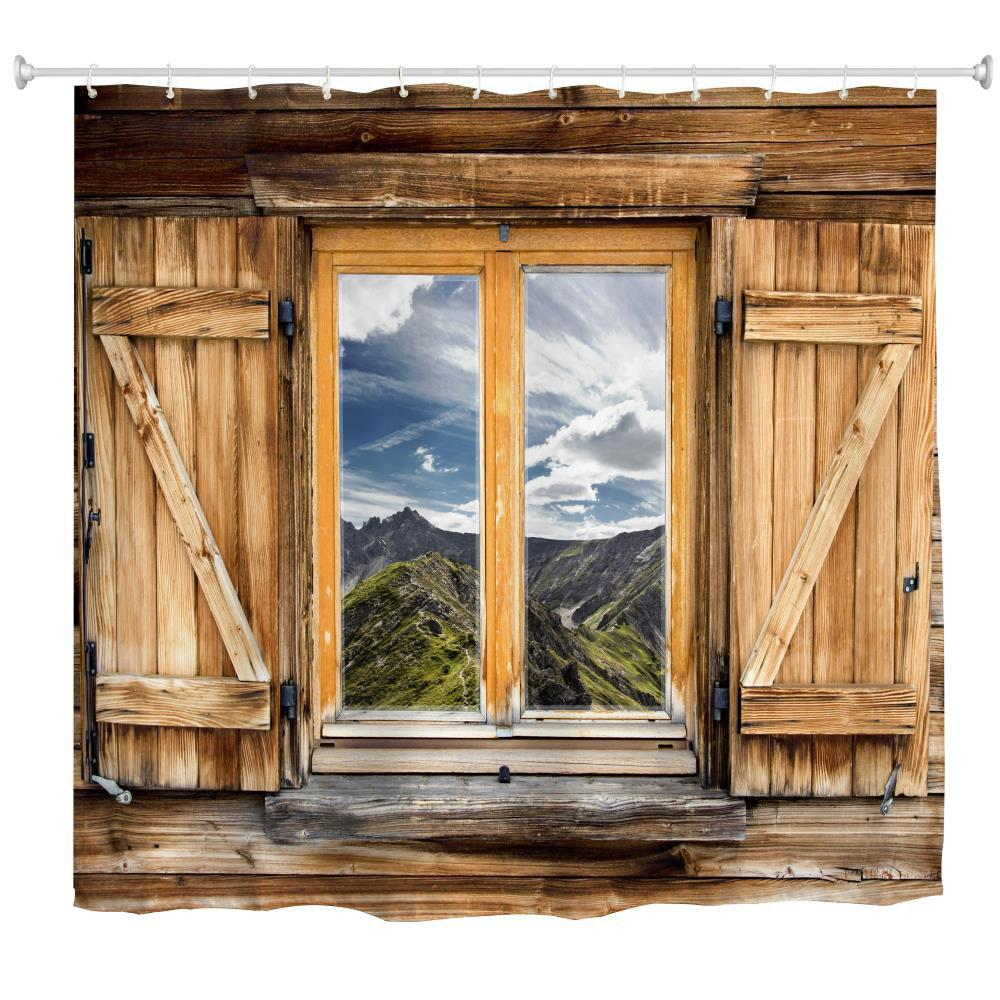 Mountain View Window Polyester Shower Curtain Bathroom  High Definition 3D Printing Water-Proof - COLORMIX W59 INCH * L71 INCH