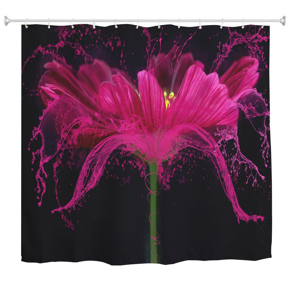 Flower Splash Polyester Shower Curtain Bathroom  High Definition 3D Printing Water-Proof - COLORMIX W71 INCH * L79 INCH
