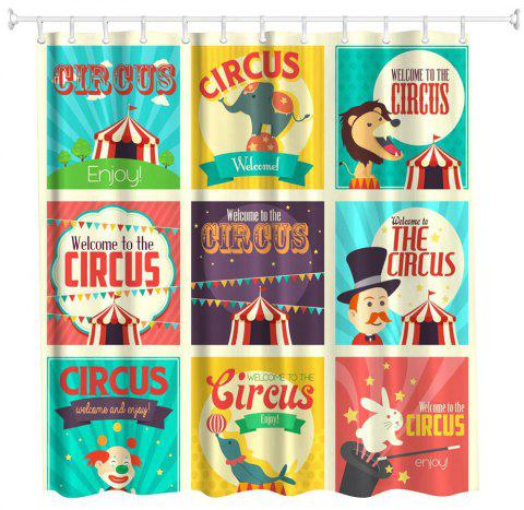 Circus Collection Polyester Shower Curtain Bathroom  High Definition 3D Printing Water-Proof - COLORMIX W59 INCH * L71 INCH