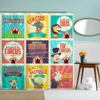 Circus Collection Polyester Shower Curtain Bathroom  High Definition 3D Printing Water-Proof - COLORMIX W71 INCH * L79 INCH