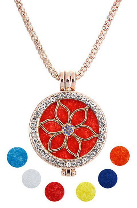 Jewelry Gift Lotus Beads Hand Crystal Inset Double Photo Shim Fragrance Box Pandent Necklace - GOLDEN