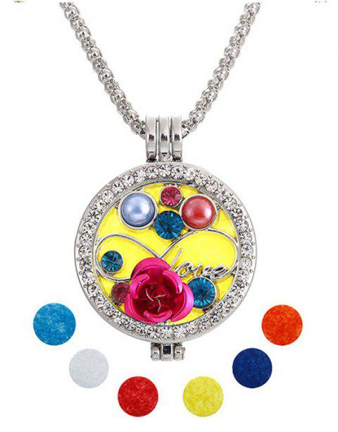 Jewelry Gift Lotus Beads Hand Crystal Inset Double Photo Shim Fragrance Box Pandent Necklace - SILVER