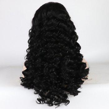 Black Color Long Curly Heat Resistant Synthetic Lace Front Wigs for Women with Baby Hair - BLACK 24INCH