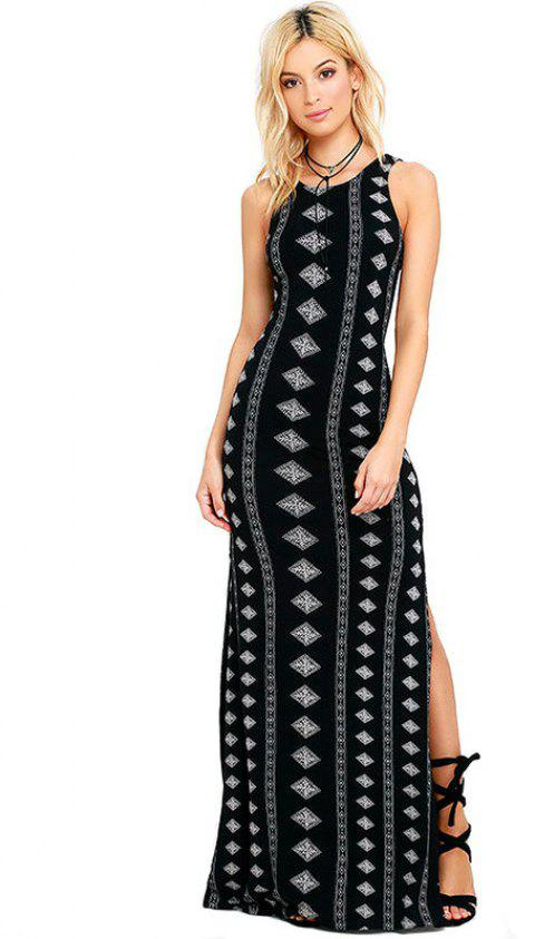 New Sexy Print Bandage  Ankle-Length Dress - BLACK XL