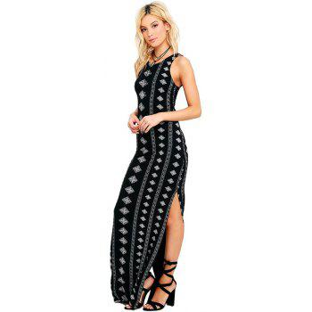 New Sexy Print Bandage  Ankle-Length Dress - BLACK L