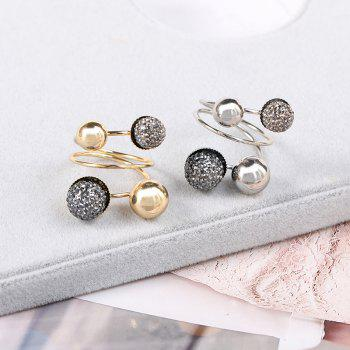 New Fashion Temperament Small Gold Beans Brass Ring - SILVER/BLACK ONE-SIZE