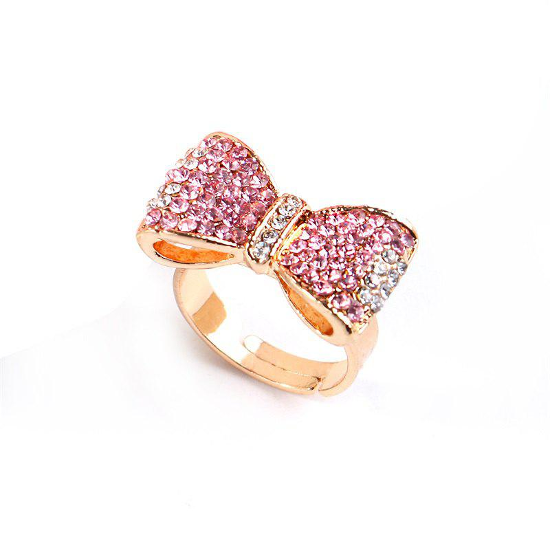 Popular Color Gold Pink Diamond Bow Opening Adjustable Ring - PINK ONE-SIZE