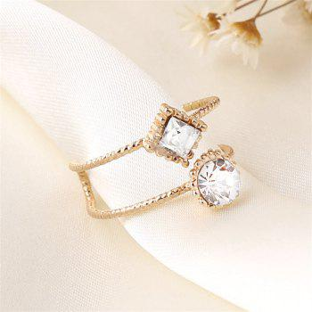 Simple Wind Protection Gold Color of The Square Round Zircon Ring - WHITE ONE-SIZE