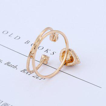 Simple National Wind Protection Gold Combination Ring - WHITE ONE-SIZE