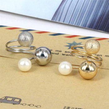 Fashion Metal Adjustable Open Ring - GOLD/WHITE ONE-SIZE
