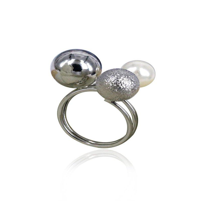 Fashion Metal Adjustable Open Ring - SILVER/WHITE ONE-SIZE