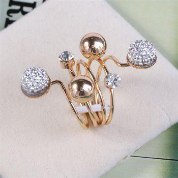 Simple Spring Welding Copper Bead Can Adjust The Ring - GOLD/WHITE ONE-SIZE
