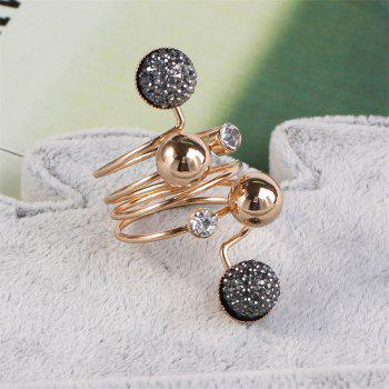 Simple Spring Welding Copper Bead Can Adjust The Ring - GOLD/GREY ONE-SIZE