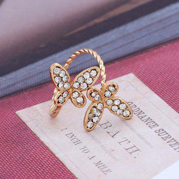 New and Simple Butterfly Open Index Finger Ring - GOLD/WHITE ONE-SIZE