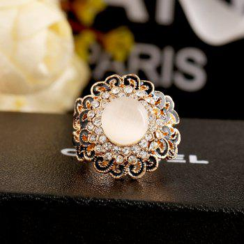 Opal Can Adjust The Ring with Black Flower Opening - WHITE/BLACK ONE-SIZE