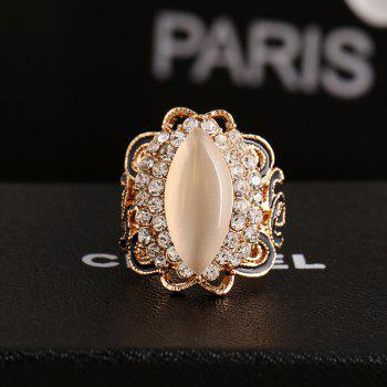 Black Color Gold Opal Opening Can Adjust The Ring - WHITE/BLACK ONE-SIZE
