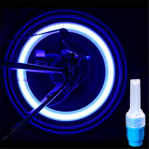 LEADBIKE 2pcs Bicycle LED Gas Lamp Tyre Tire Wheel Valve Cap Bike Accessories Waterproof For Night Riding Decoration - BLUE