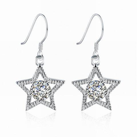 Zircon Star Shape Silver Plated Drop Earrings Charm Jewelry Gift For Women - SILVER