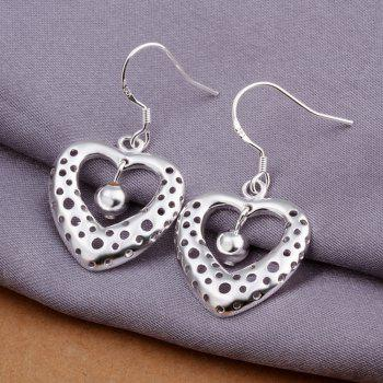 Fashion Hollow Out Heart Shape Drop Earrings Charm Jewelry Gift For Women - SILVER