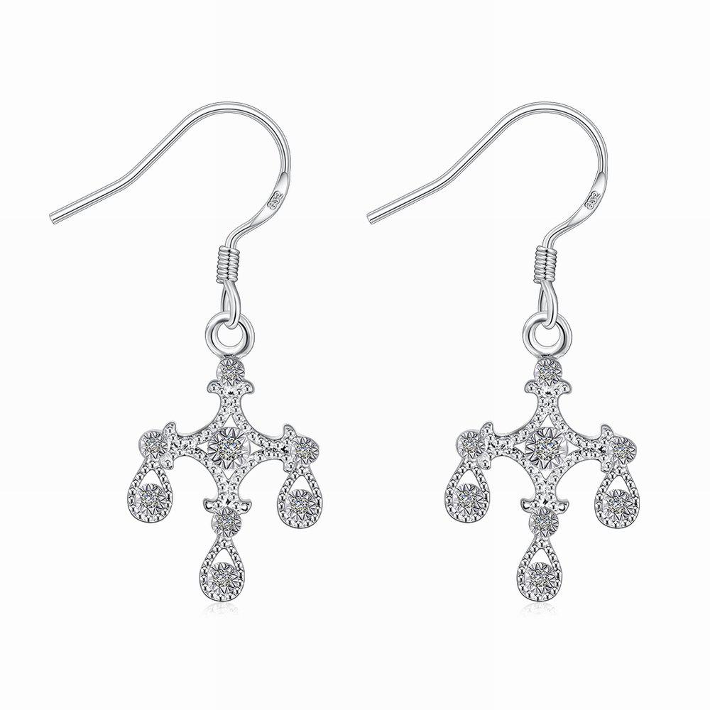 Fashion Graceful  Zircon Flower Long Drop Earrings Charm Jewelry - SILVER