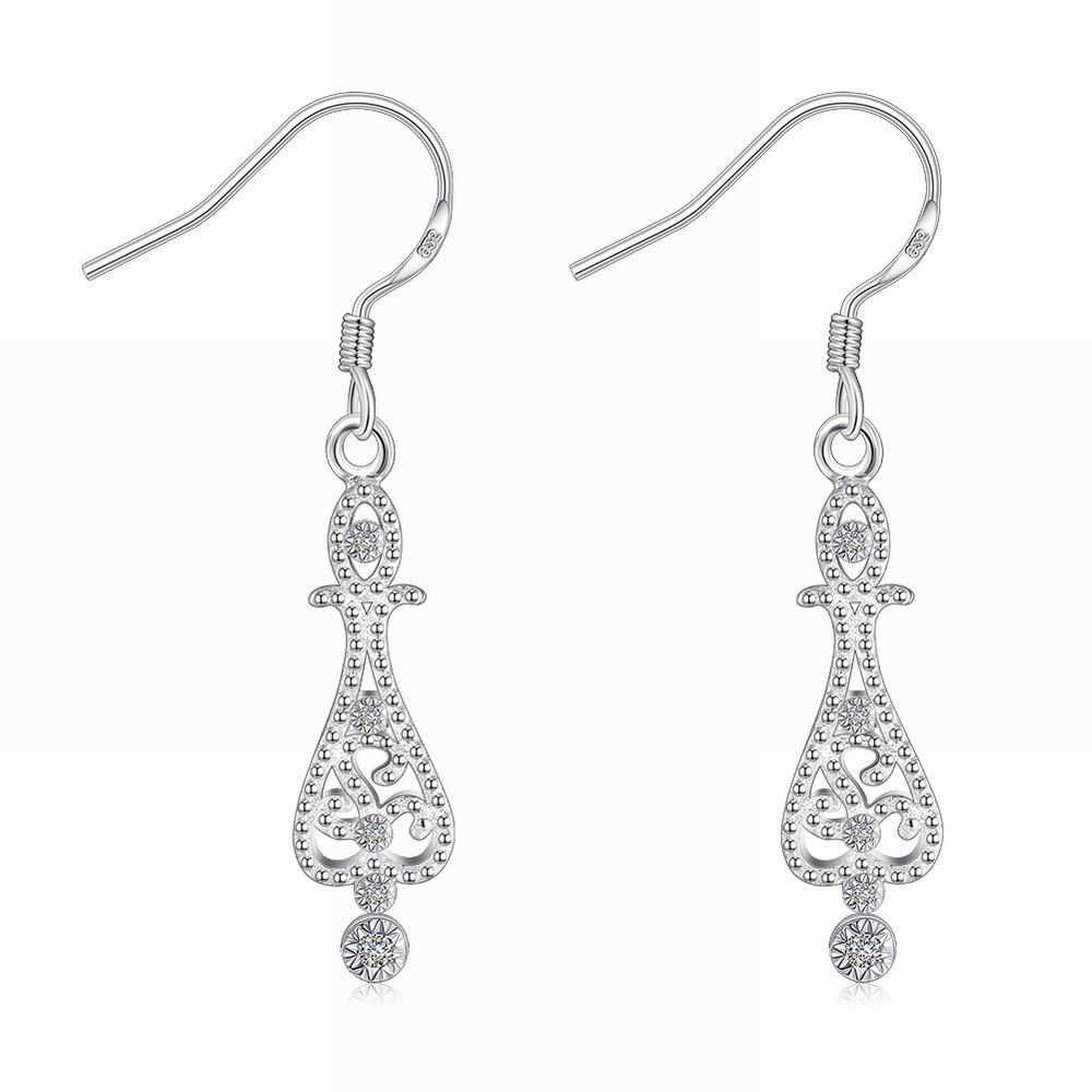 Hollow Out Zircon Flower Shape Long Drop Earrings Charm Jewelry - SILVER