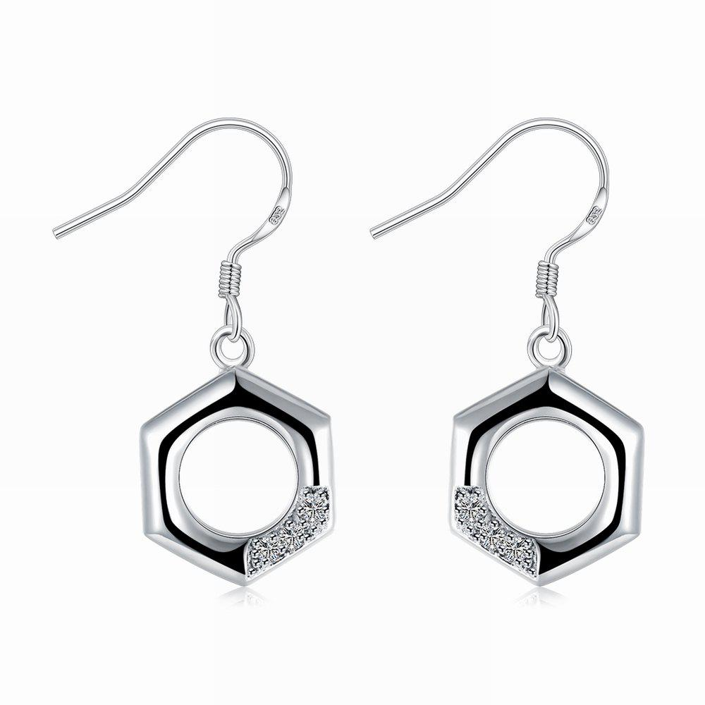 Square Zircon Drop Earrings Charm Jewelry Gift For Women - SILVER