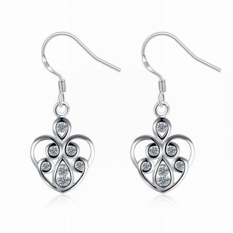 Hollow Out Zircon Heart Shape Drop Earrings Charm Jewelry - SILVER