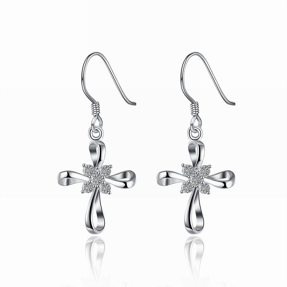 Fahsion Zircon Cross Drop Earrings Charm Jewelry - SILVER