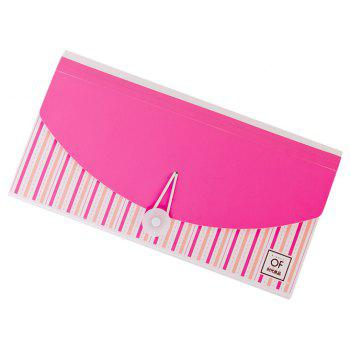 Creative Colorful Organ Notes Packs 13 layers of check invoices Postcard Storage - PINK 26X14.7X3.2CM