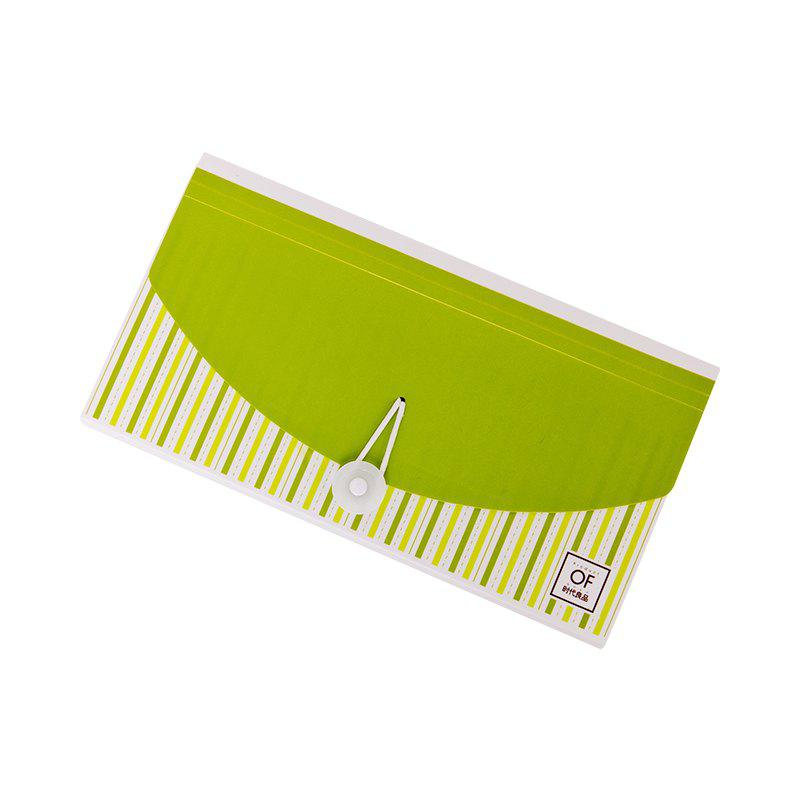 Creative Colorful Organ Notes Packs 13 layers of check invoices Postcard Storage - GREEN 26X14.7X3.2CM