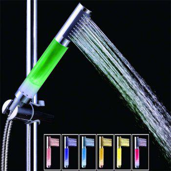 LED Colorful Round Stick Round Hand Shower - CLEAR WHITE