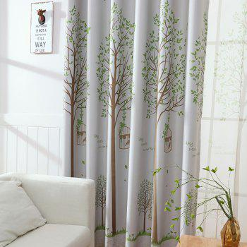 New Bird Cage Black Silk Blackout Curtains - GRAY 100X250CM