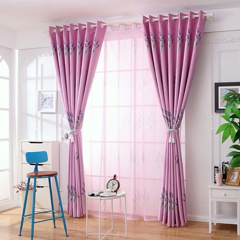 Home Garden Small Fresh Printed Curtains - PINK 100X250CM